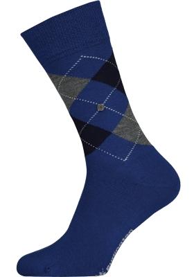 Burlington Edinburgh herensokken, wol, royal blauw met grijs en zwart