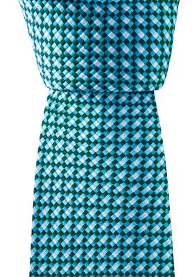 Donkerblauw / turquoise / wit dessin stropdas
