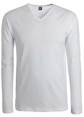 Alan Red stretch longsleeve T-shirt Oslo, V-hals, wit