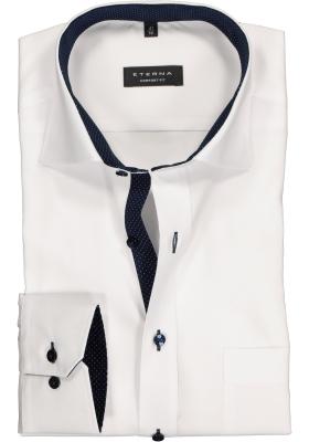 ETERNA comfort fit overhemd, fijn Oxford heren overhemd, wit (blauw gestipt contrast)