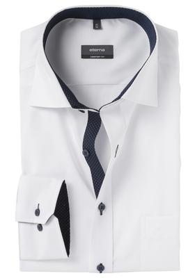 ETERNA Comfort Fit overhemd, wit fijn Oxford (blauw contrast)