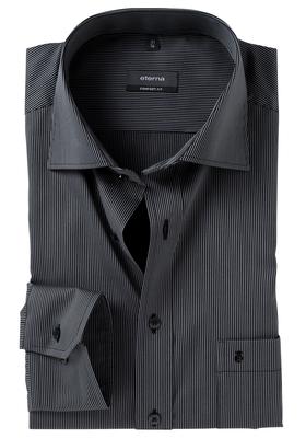 ETERNA Comfort Fit overhemd, zwart gestreept