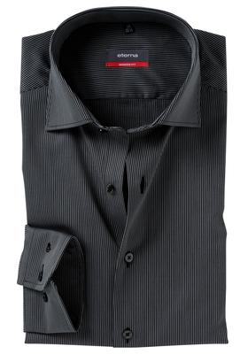 ETERNA Modern Fit overhemd, zwart gestreept