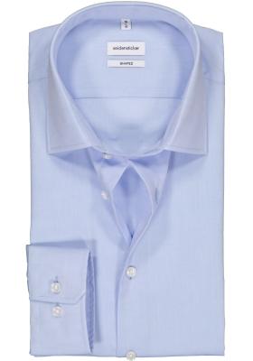 Seidensticker shaped fit overhemd, mouwlengte 7, blauw