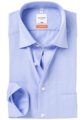 OLYMP Modern Fit overhemd, blauw geruit (contrast)