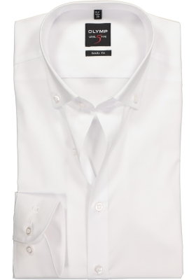 OLYMP Level 5 body fit overhemd, wit met button-down kraag