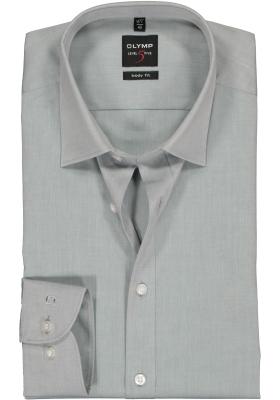 OLYMP Level 5 body fit overhemd, mouwlengte 7, grijs