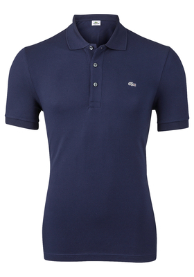 Lacoste stretch slim fit polo, heren polo extra getailleerd, marine blauw