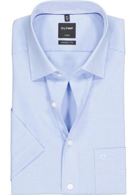 OLYMP Luxor modern fit overhemd, korte mouw, lichtblauw met wit geruit