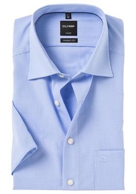 OLYMP Modern Fit, overhemd korte mouw, blauw geruit