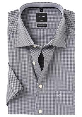 OLYMP Modern Fit, overhemd korte mouw, zwart geruit