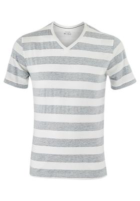 Schiesser heren lounge t-shirt (V-hals), wit / grijs gestreept