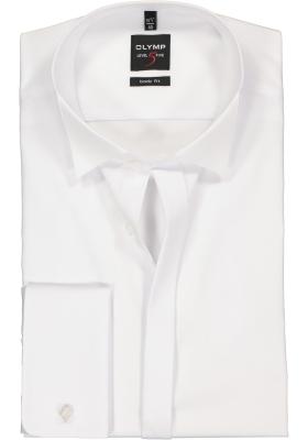 OLYMP Level 5 body fit overhemd, mouwlengte 7, smoking overhemd, wit met wing kraag