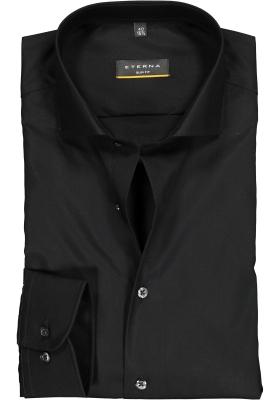 ETERNA slim fit overhemd, poplin heren overhemd, zwart