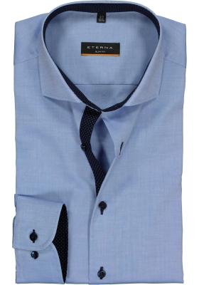 ETERNA slim fit overhemd, fijn Oxford heren overhemd, lichtblauw (blauw gestipt contrast)