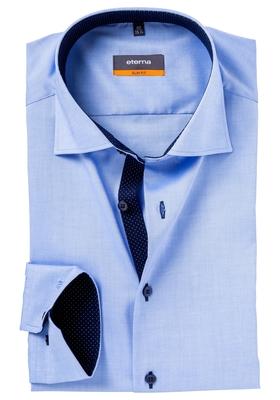 Eterna Slim Fit overhemd, blauw (fijn Oxford / contrast)