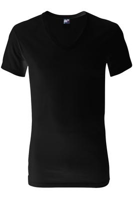 Alan Red T-shirt Dean, diepe V-hals, zwart