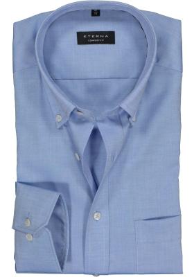 ETERNA Comfort Fit overhemd, blauw fijn Oxford (button-down)
