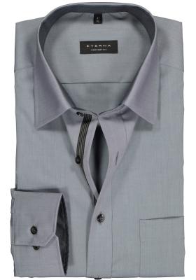ETERNA comfort fit overhemd, chambray heren overhemd, grijs (zwart contrast)