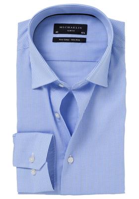 Michaelis Slim Fit overhemd, licht blauw geruit