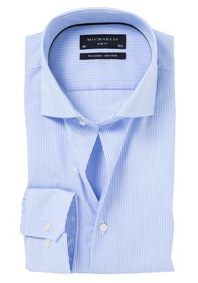 Michaelis Slim Fit overhemd, licht blauw gestreept