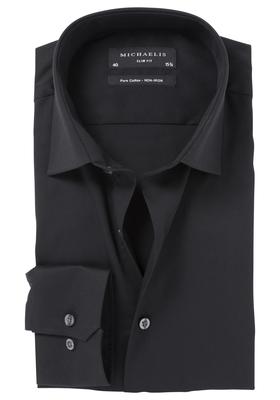 Michaelis Slim Fit overhemd, mouwlengte 7, zwart (Twill)