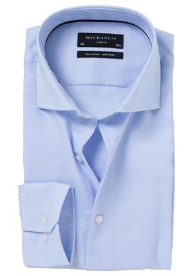 Michaelis Slim Fit overhemd, mouwlengte 7, licht blauw (basket-weave)