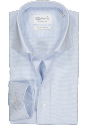 Michaelis slim fit overhemd, mouwlengte 7, basket-weave, lichtblauw