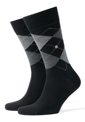 Burlington herensokken wol (Edinburgh), zwart / grijs