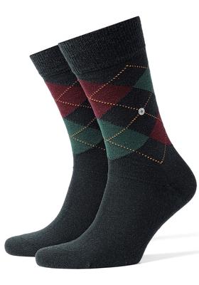 Burlington sokken wol (Edinburgh), marine / groen / bordeaux