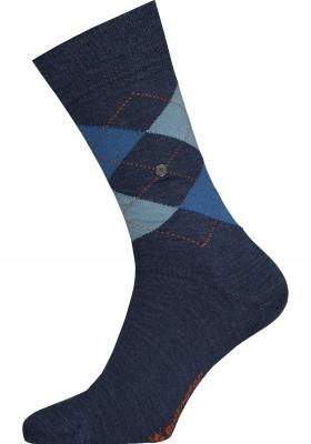Burlington Edinburgh herensokken, wol, jeansblauw met turquoise