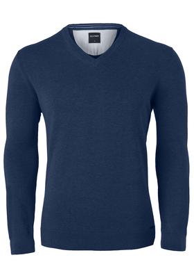 OLYMP heren trui katoen, V-hals, nacht blauw