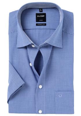 OLYMP Luxor modern fit overhemd, korte mouw, donkerblauw met wit geruit (contrast)
