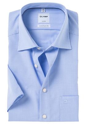 OLYMP Luxor comfort fit overhemd, korte mouw, lichtblauw met wit geruit (contrast)