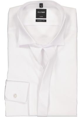 OLYMP Luxor modern fit overhemd, smoking overhemd, mouwlengte 7, wit met wing kraag