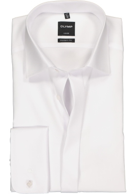 OLYMP Luxor modern fit overhemd, smoking overhemd, mouwlengte 7, wit met Kent kraag