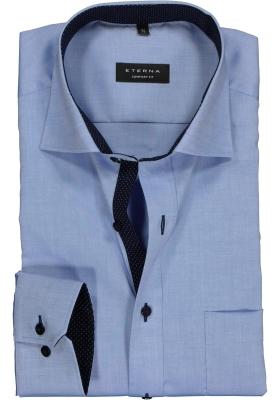 ETERNA comfort fit overhemd, mouwlengte 7, fijn Oxford heren overhemd, lichtblauw (blauw gestipt contrast)