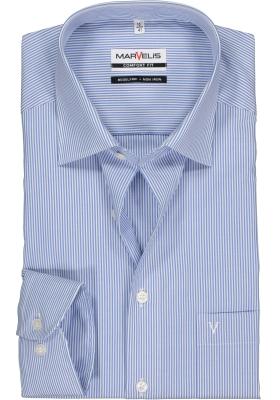 MARVELIS Comfort Fit overhemd, blauw / wit gestreept