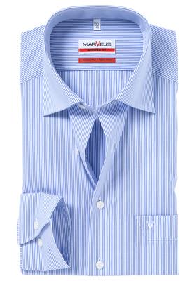 MARVELIS modern fit overhemd, blauw met wit gestreept