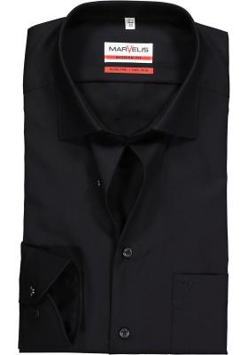 MARVELIS Modern Fit overhemd, mouwlengte 7, zwart