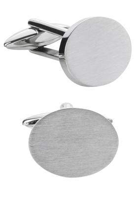 Manchetknopen, ovaal geborsteld zilver, graveerbaar