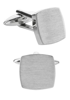 Manchetknopen, vierkant geborsteld zilver, graveerbaar