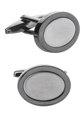 Manchetknopen, ovaal zilver / gunmetal