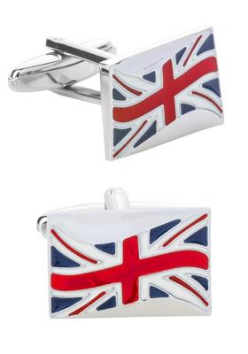 Manchetknopen zilver, Union Jack