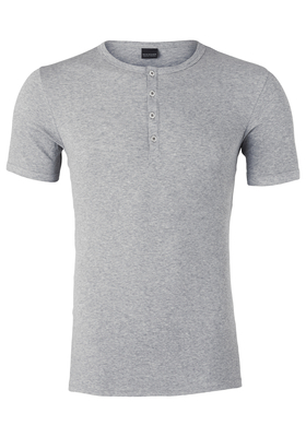 SCHIESSER Retro Rib T-shirt, O-hals met knoopsluiting, grijs