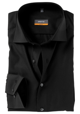 Eterna Slim Fit overhemd, zwart (stretch)