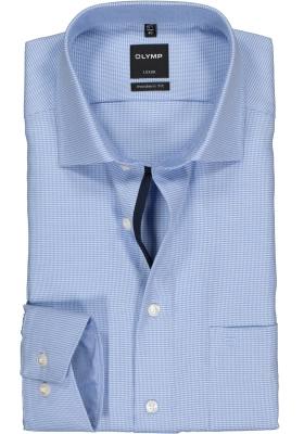 OLYMP Luxor modern fit overhemd, lichtblauw mini dessin (contrast)