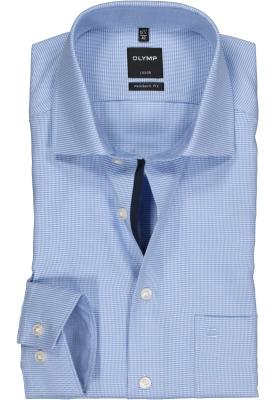 OLYMP Luxor Modern Fit overhemd, mouwlengte 7, blauw motief