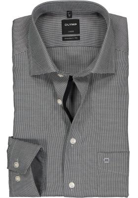 OLYMP Luxor modern fit overhemd, zwart met wit mini dessin (contrast)