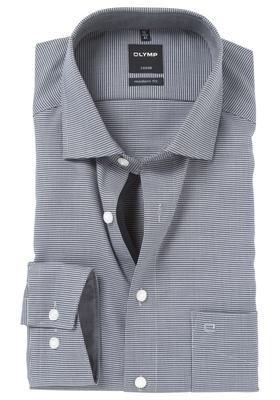 OLYMP Modern Fit overhemd, antraciet grijs motief (contrast)